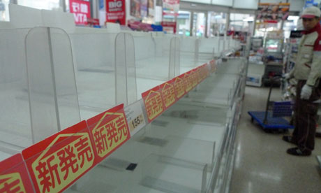 empty store shelves with days before they are restocked
