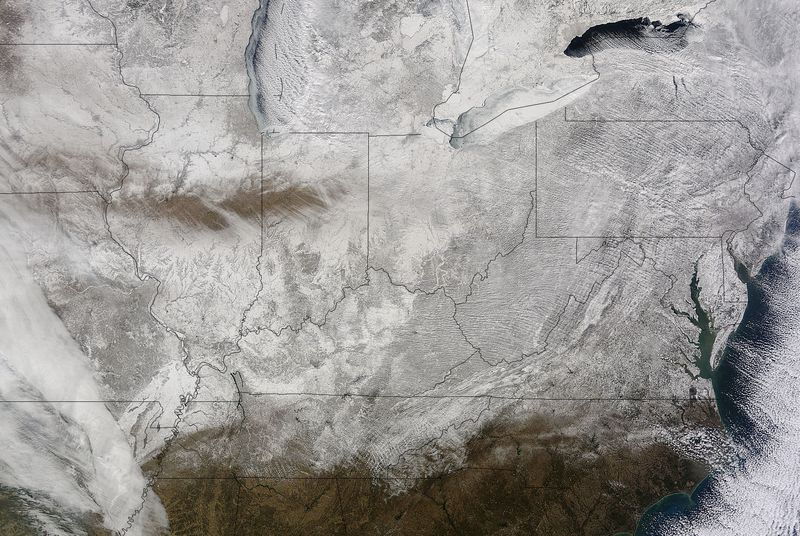 NASA satellite image shows the frozen wasteland that currently is the United States | The Verge